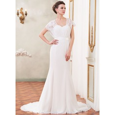 Trumpet/Mermaid Sweetheart Court Train Chiffon Lace Wedding Dress With Beading Sequins Bow(s)