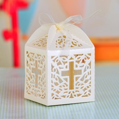Cross Laser Cut Cubic Favor Boxes With Ribbons (Set of 12)