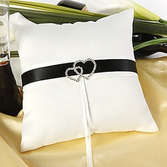 Delux Wedding Ring Pillow In Ivory Satin With Loving Hearts(103018236)