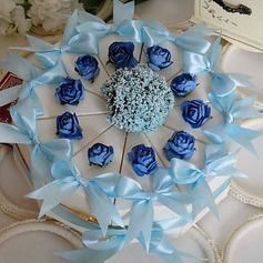 White Cake Favor Box With Blue Rose & Bow (Set of 10) (050024704)