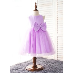 A-Line/Princess Knee-length Flower Girl Dress - Organza/Polyester Sleeveless Scoop Neck With Bow(s)