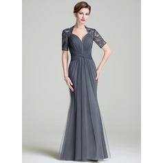 Trumpet/Mermaid Sweetheart Floor-Length Tulle Mother of the Bride Dress With Ruffle