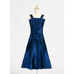 A-Line/Princess Scalloped Neck Tea-Length Taffeta Junior Bridesmaid Dress With Ruffle