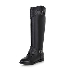 Leatherette Low Heel Knee High Boots With Buckle Zipper shoes