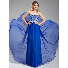 A-Line/Princess Sweetheart Floor-Length Chiffon Prom Dress With Beading Appliques Lace