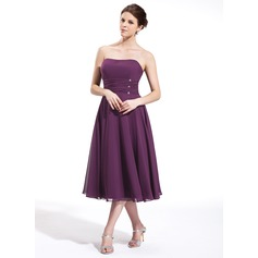 Empire Sweetheart Tea-Length Chiffon Bridesmaid Dress With Ruffle Beading