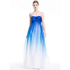 Empire Sweetheart Floor-Length Chiffon Holiday Dress With Ruffle