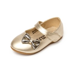 Kids' Leatherette Flat Heel Closed Toe Flats With Bowknot