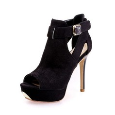 Suede Stiletto Heel Sandals Platform With Rhinestone shoes