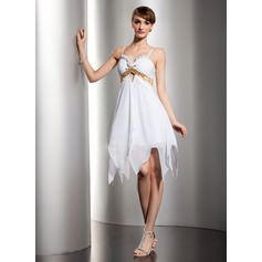 Empire Sweetheart Knee-Length Chiffon Homecoming Dress With Ruffle Sash Beading Sequins
