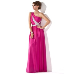 A-Line/Princess One-Shoulder Floor-Length Chiffon Evening Dress With Ruffle Beading Sequins (017005592)