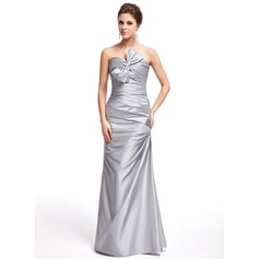 Sheath/Column Sweetheart Floor-Length Taffeta Prom Dress With Ruffle Bow(s)