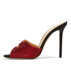Women's Suede Stiletto Heel Sandals Peep Toe Slippers With Rhinestone shoes