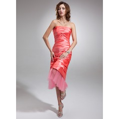 Sheath/Column Strapless Tea-Length Taffeta Prom Dress With Ruffle