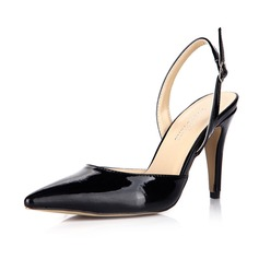 Patent Leather Stiletto Heel Pumps Closed Toe Slingbacks With Buckle shoes