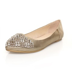 Real Leather Flat Heel Flats Closed Toe With Rhinestone shoes