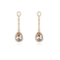Gorgeous Gold Plated With Crystal Ladies' Earrings