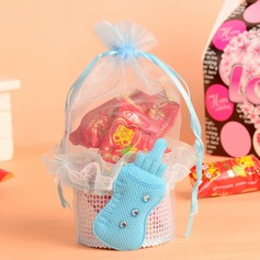 Elegant Basket Favor Bags With Ribbons/Laces (Set of 12)