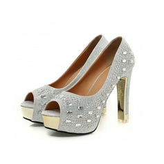 Women's Sparkling Glitter Chunky Heel Pumps Platform Peep Toe With Crystal Sparkling Glitter shoes