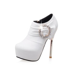 Women's Suede Stiletto Heel Platform Ankle Boots With Rhinestone Buckle Ruched shoes