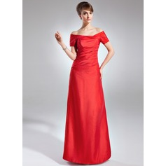 Sheath/Column Off-the-Shoulder Floor-Length Taffeta Mother of the Bride Dress With Ruffle