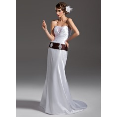 Trumpet/Mermaid Strapless Court Train Charmeuse Wedding Dress With Ruffle Sash Beading