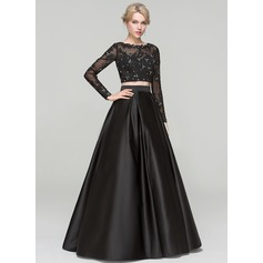 Ball-Gown Scoop Neck Floor-Length Satin Evening Dress With Beading