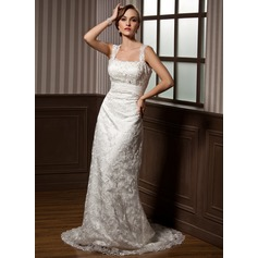 Sheath/Column Sweetheart Watteau Train Lace Wedding Dress With Ruffle Beading