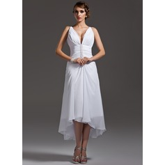 A-Line/Princess V-neck Asymmetrical Chiffon Wedding Dress With Ruffle Beading