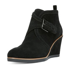 Women's Suede Wedge Heel Wedges Boots Ankle Boots With Buckle shoes