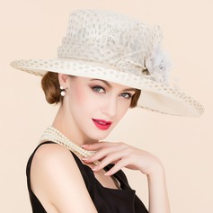 Ladies' Beautiful Cambric With Silk Flower Bowler/Cloche Hat