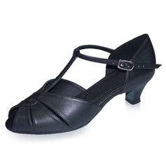 Real Leather Heels Sandals Latin Dance Shoes With T-Strap