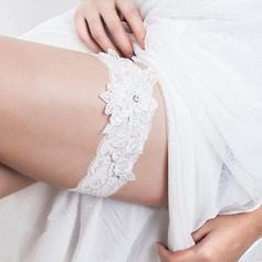 Elegant White Lace With Rhinestones Wedding Garters