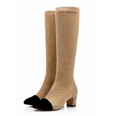 Women's Real Leather Chunky Heel Over The Knee Boots With Fur Split Joint shoes