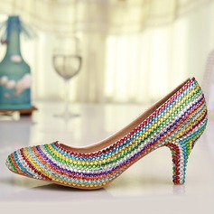 Women's Real Leather Kitten Heel Closed Toe Pumps With Rhinestone