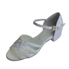 Kids' Sparkling Glitter Heels Sandals Latin With Ankle Strap Dance Shoes