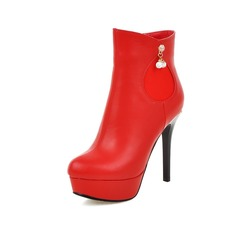 Women's Leatherette Stiletto Heel Pumps Boots Ankle Boots With Rhinestone shoes