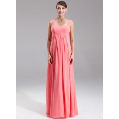 Empire Scoop Neck Floor-Length Chiffon Chiffon Maternity Bridesmaid Dress With Ruffle (045004385)