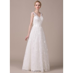 A-Line/Princess V-neck Floor-Length Lace Wedding Dress