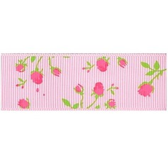 2/5-Inch Flower Design Satin Ribbon