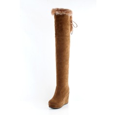 Suede Wedge Heel Platform Over The Knee Boots With Zipper Lace-up Fur shoes