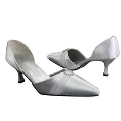 Women's Satin Spool Heel Closed Toe Pumps With Rhinestone Ribbon Tie