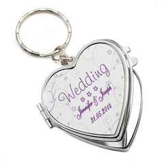 Personalized Floral Design Stainless Steel Keychains/Compact Mirror