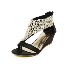 Leatherette Wedge Heel Sandals Wedges With Imitation Pearl Buckle shoes