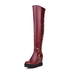 Women's Leatherette Wedge Heel Knee High Boots With Zipper shoes