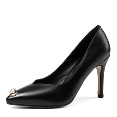 Women's Real Leather Stiletto Heel Pumps Closed Toe With Crystal shoes