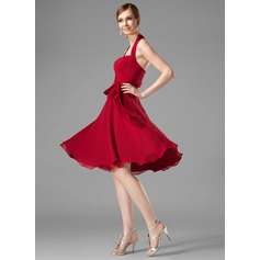 A-Line/Princess Halter Knee-Length Chiffon Bridesmaid Dress With Ruffle Bow(s) (007001816)