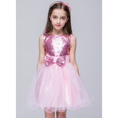 Ball Gown Short/Mini Flower Girl Dress - Tulle Sleeveless Scoop Neck With Sequins/Bow(s)