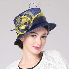 Ladies' Beautiful Flax With Flower Bowler/Cloche Hat