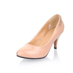Patent Leather Spool Heel Closed Toe Pumps (085025195)
